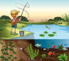 Niño en la orilla del río pescando solo