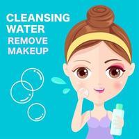 Kvinna som rensar ansiktet