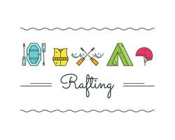 Rafting equipment outline icon collection