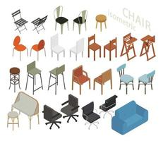 Set of isometric furniture in various chair styles.