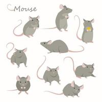 Cute mouse character set.