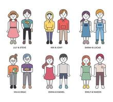 Cute Couple Character set  in outline style. vector