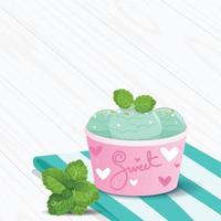 Mint Ice Cream on Wooden Table