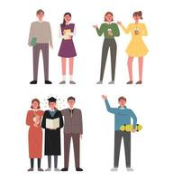 Campus life character set. vector