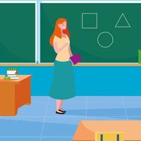 teacher female in classroom with chalkboard
