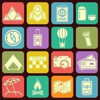 Moderne flache reisende und kampierende Ikonen in den stilvollen Mehrfarbenknöpfen