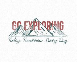 Adventure vintage print design with Go Exploring typography vector