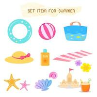 Set of Items For Summer