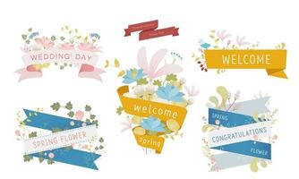 Ribbons and elegant floral decorations of various waves with text.