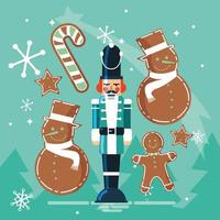 nutcracker soldier with ginger cookie and cane vector