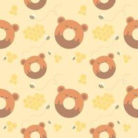 seamless pattern bear donut and honeycomb vector