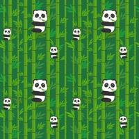 Seamless pattern panda on the bamboo.