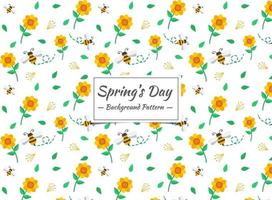 Spring bee and Flower pattern
