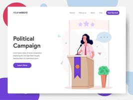 Female Politician Campaign on Podium Illustration Concept