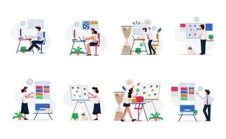Businessman and Businesswoman Illustration Set