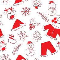 Hand Drawn Christmas Seamless Pattern Background  vector