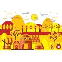 Flat Design Tricolor Autumn Landscape  vector