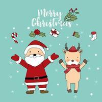 Carte de voeux mignonne de joyeux Noël