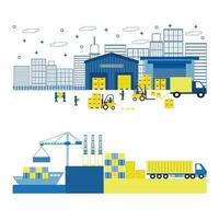 Flat Style Illustration of Cargo, Port, Equipment Shipping