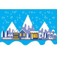 Flat Style Winter Town Landscape Background