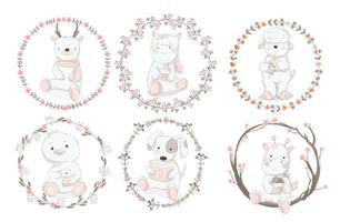 Set of Baby Animals with Floral Borders