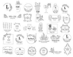 Conjunto de modelos de logotipo floral vetor