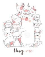 Hug Me Baby Animals, carte d'impression dessinée à la main