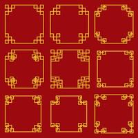 Collection of Decorative Chinese Style Borders and Frames  vector