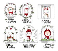 Merry Christmas Cute Animals in Festive Window Frames