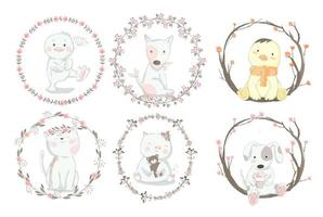 Cute Baby Animals in Floral Frame