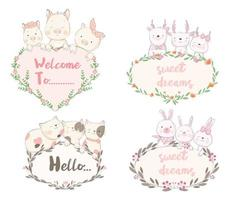 Hand Drawn Baby Animals Greeting Templates vector
