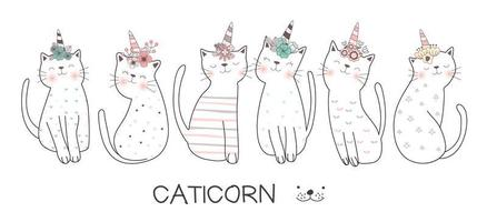 Caticorn Hand Drawn Style