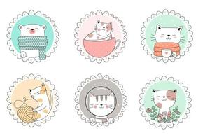 Set of Hand Drawn Cute Animals in Circle Frames