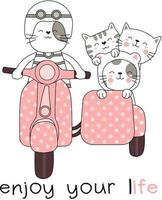 Enjoy Your Life Animals on Motorcycle with Sidecar Hand Drawn Card