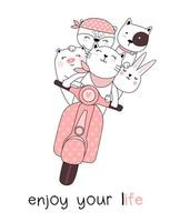 Enjoy Your Life Animals on Motorcycle Hand Drawn Card