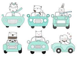 Conjunto de animales lindos en coche azul dibujado a mano