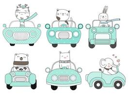 Cute Animals in Blue Car Hand Drawn Set