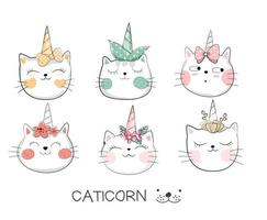 Cute Baby Caticorn Hand Drawn Set