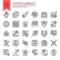 Set of Thin Line Black and White Cryptocurrency Icons