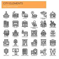 Set of Thin Line Black and White City Elements Icons