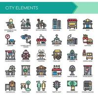 Set of Color Thin Line City Elements