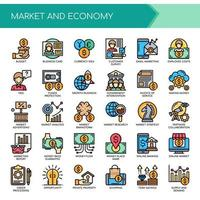 Set of Color Thin Line Market Economy Icons