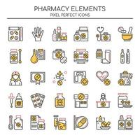 Set of Color Thin Line Pharmacy Elements