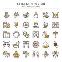 Set di icone di Capodanno cinese linea sottile di due tonalità