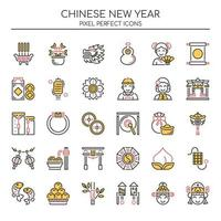 Reihe von Duotone dünne Linie Chinese New Year Icons