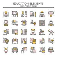 Set of Duotone Thin Line Education Icons