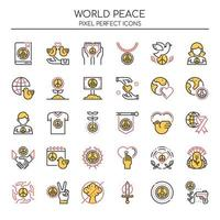 Set of Duotone Thin Line World Peace Icons  vector