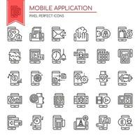 Set of Black and White Thin Line Mobile Application Icons