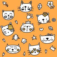 Cute Simple Orange Cat Seamless Pattern