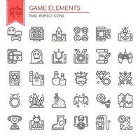Uppsättning av svartvita tunna linjer Game Element Ikoner